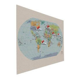 Prikbord bulletin - Zwevend - Wereldkaart - 90x120 cm 1