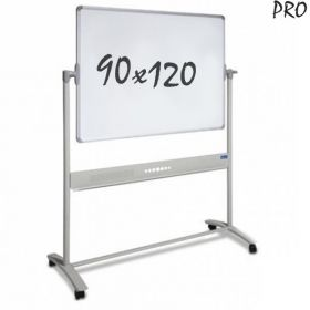 Tableau blanc mobile PRO - Double face - Magnétique - Émaillé - 90 x 120 cm