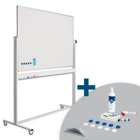 Tableau blanc mobile ECO PRO - double face - magnétique - émaillé - 90 x 120 cm