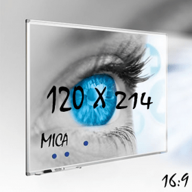 Mica projectiebord / whiteboard 120x214 cm - 16:9