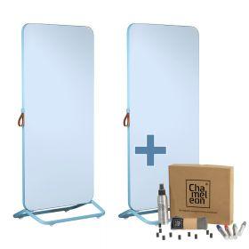 Chameleon Mobile dubbelzijdig whiteboard 89 x 192 cm - Blauw + starterkit