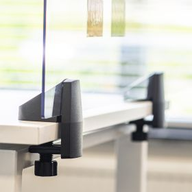 Écran de séparation / écran de bureau en plexiglas - Inclus pinces pour bureau individuel - 58 x 120 cm