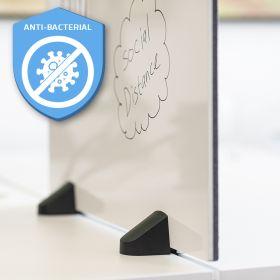 Écran de séparation combiné tableau blanc / tableau d'affichage - Inclus pinces pour bureau double - 58 x 160 cm