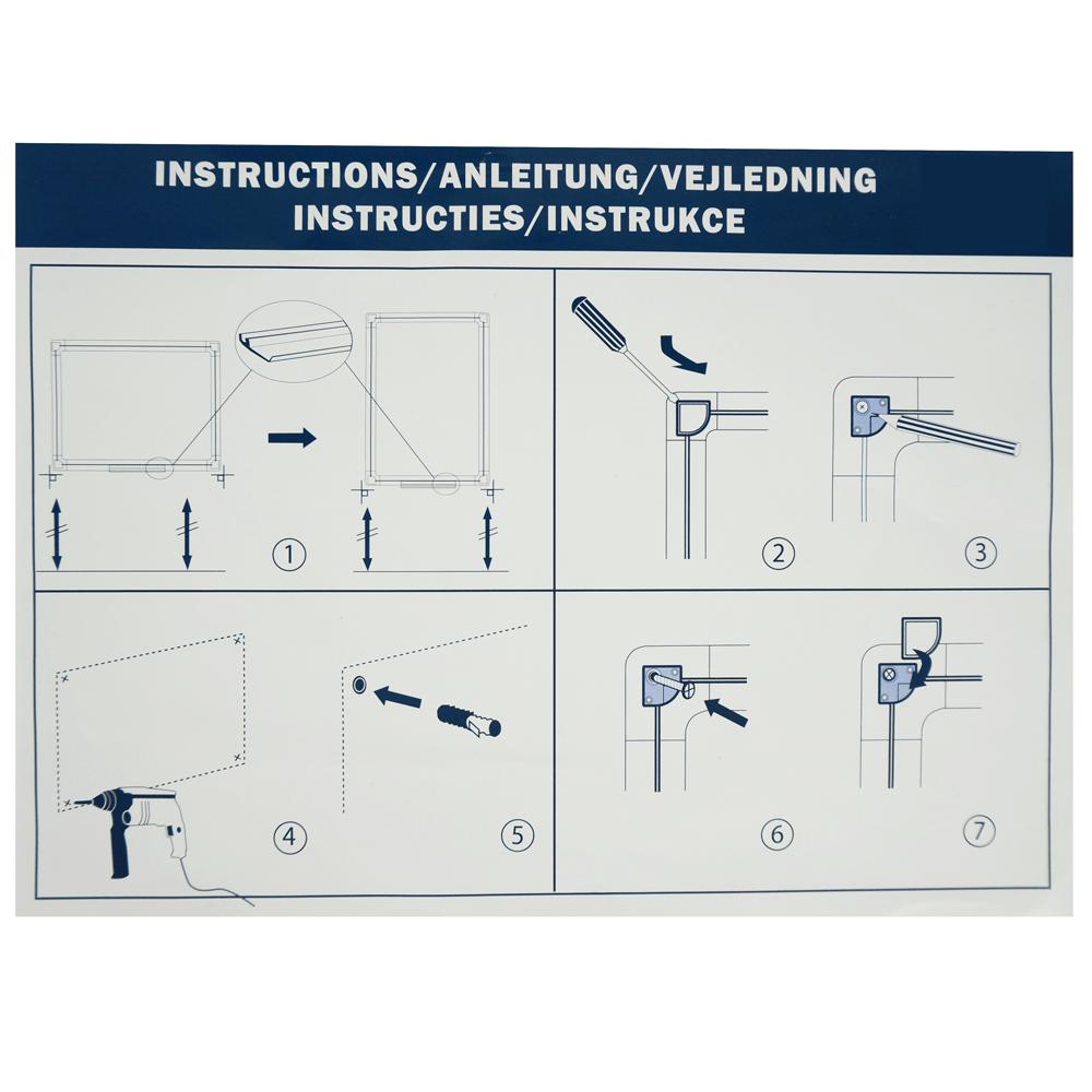 whiteboard voor wandmontage - magnetisch - handleiding